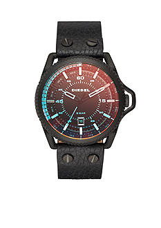 Diesel Men's Rollcage Black IP and Black Leather Three-Hand Watch