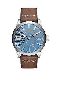 Diesel Men's Rasp Three-Hand Brown Leather Watch