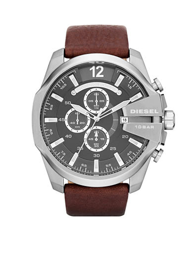 Diesel Men's Silver-Tone Stainless Steel and Brown Leather Chronograph Watch