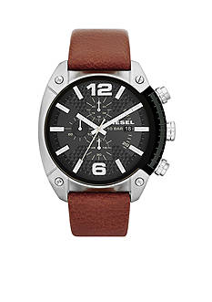 Diesel Men's Brown Leather and Silver-Tone Stainless Steel Chronograph Watch