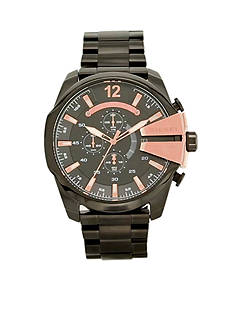 Diesel Men's Black Stainless Steel Chronograph Mega Chief Watch