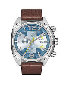 Diesel Overflow Dark Brown Leather Strap Chronograph Watch