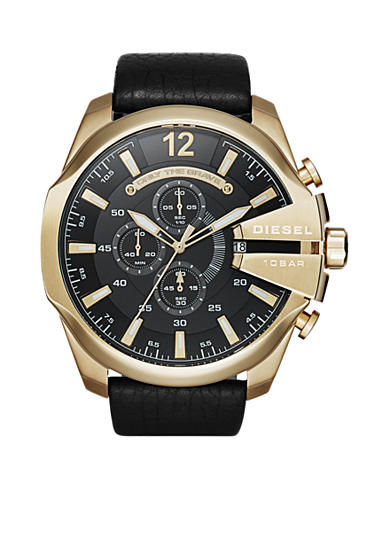 Diesel Mega Chief Black Leather Chronograph Watch