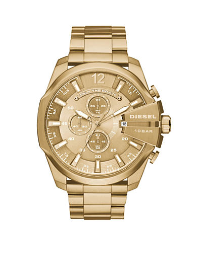 Diesel Men's Mega Gold Ionic Plated Chronograph Watch