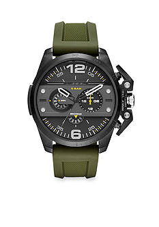 Diesel Men's Ironside Green Silicone Black Dial Chronograph Watch