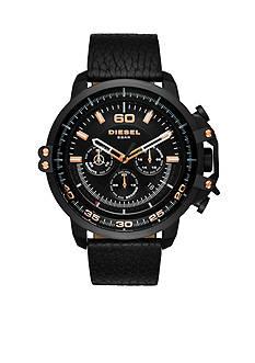 Diesel Men's Deadeye Rose Gold-Tone and Black Leather Watch