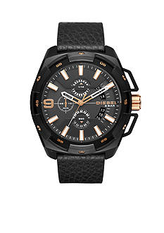 Diesel Men's Heavyweight Black IP and Black Leather Chronograph Watch