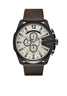 Diesel Men's Mega Chief Dark Brown Leather Chronograph Watch