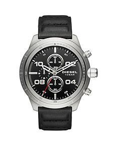 Diesel Men's Padlock Chronograph Black Leather Watch