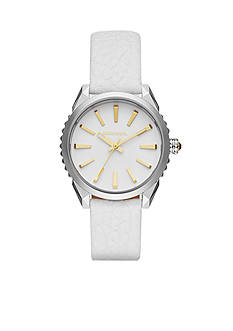 Diesel Women's White Leather with Rose Gold-Tone Accents Three Hand Nuki Watch