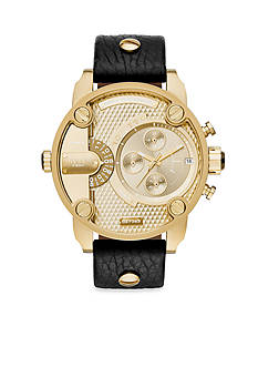 Diesel Men's Uber Chief Gold-Tone and Black Leather Multifunction Watch