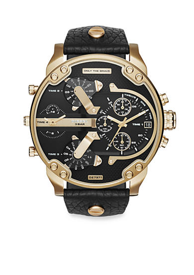 Diesel Men's Mr. Daddy 2.0 Gold-Tone and Black Leather Multifunction Watch
