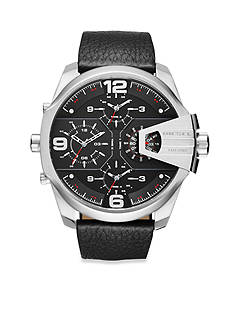 Diesel Men's Uber Chief Black Leather Multi Movement Watch