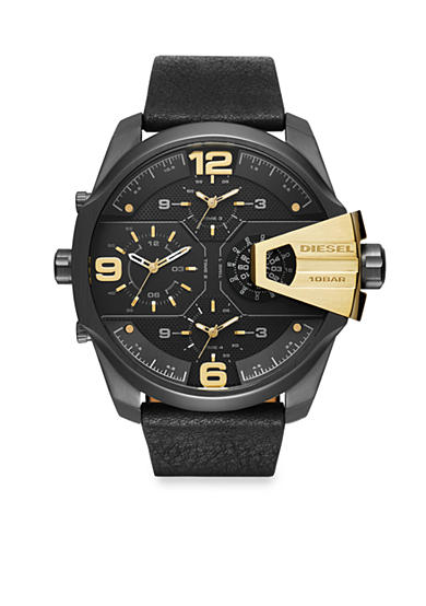 Diesel Men's Uber Chief Black with Gold-Tone Accents Multi Movement Watch