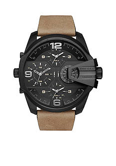 Diesel Men's Uber Chief Black IP and Light Brown Leather Chronograph Watch