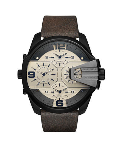 Diesel Men's Uber Chief Black IP and Dark Brown Leather Chronograph Watch