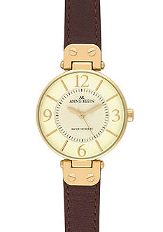 Anne Klein Gold Round Bezel Watch with Brown Leather Strap