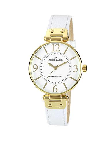 Anne klein gold tone round case with white leather strap watch for Anne klein leather strap