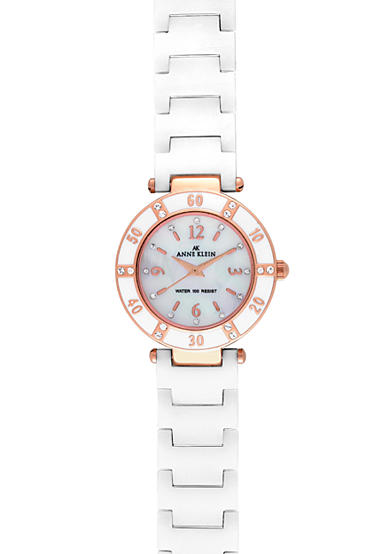 Anne Klein Rose Gold Case Watch with White Ceramic Bracelet