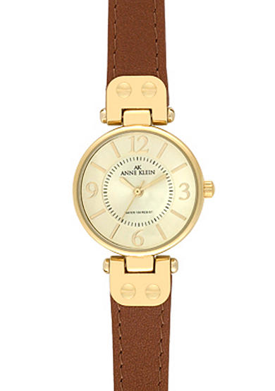 Anne Klein Gold Round Case with Honey Leather Strap