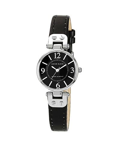 Anne Klein Silver Tone Case with Black Leather Strap