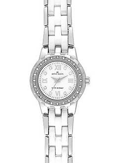 Anne Klein Silver Round Case and White Ceramic Bracelet Watch