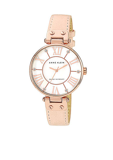 Anne Klein Oversized Round Dial with Crystal Blush Leather Strap