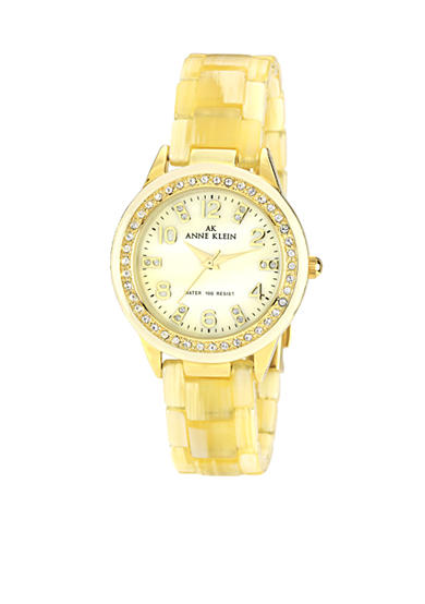 Anne Klein Horn and Crystal Plastic Bracelet Watch