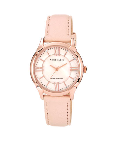 Anne Klein Rose Gold Round Case Watch with Blush Leather Strap