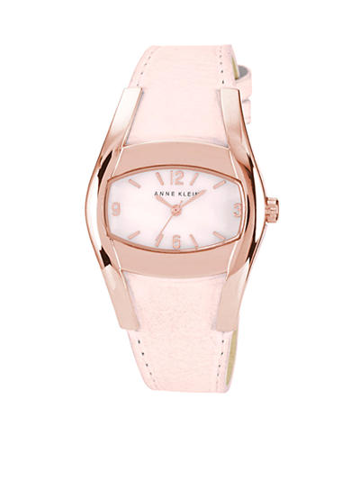 Anne Klein Rose Gold Oval Case With Blush Leather Strap<br>