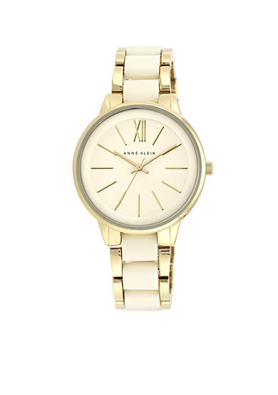 Anne Klein Ivory and Gold-Tone Bracelet Watch