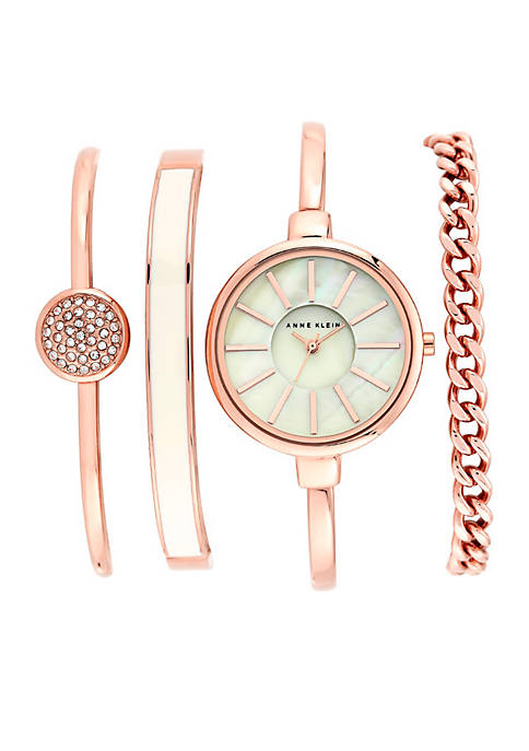 Anne klein rose gold watch and 3 stackable bracelets set belk for Anne klein rose gold watch set