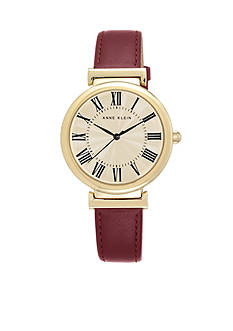 Anne Klein Women's Iconic Plated Real Gold with Burgundy Leather Strap Watch