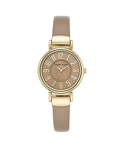 Anne Klein Gold-Tone Tan Dial Leather Watch