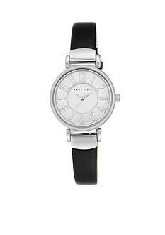 Anne Klein Women's Silver-Tone Easy Read Black Leather Watch