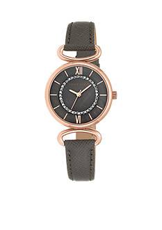 Anne Klein Women's Rose-Gold Dark Taupe Leather Watch