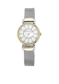 Anne Klein Women's Two-Toned Alloy Round with Stainless Steel Mesh Strap Watch