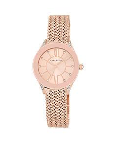 Anne Klein Rose Gold-Tone Crystal Mesh Bracelet Watch