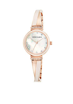 Anne Klein Women's Rose Gold-Tone Crystal Bangle Watch