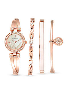 Anne Klein Women's Rose Gold-Tone Watch and 3 Stackable Bracelets Set