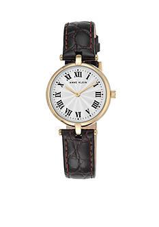 Anne Klein Women's Gold-Tone Brown Leather Watch