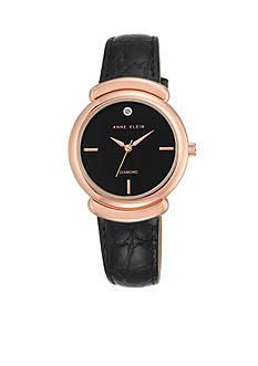 Anne Klein Women's Rose Gold-Tone Black Leather Watch