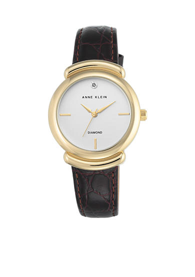 Anne Klein Women's Gold-Tone Diamond Dial Brown Leather Watch