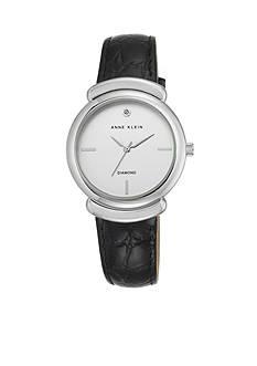 Anne Klein Women's Silver-Tone Black Leather Watch