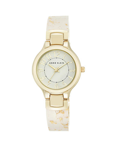 Anne Klein Women's Gold-Tone White Bangle Watch