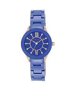 Anne Klein Women's Rose Gold-Tone Blue Ceramic Watch