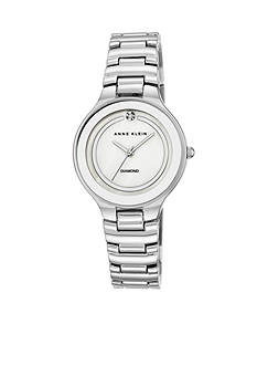 Anne Klein Women's Silver-Tone Diamond Dial Watch