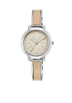 Anne Klein Women's Silver-Tone Tan Leather Bangle Watch
