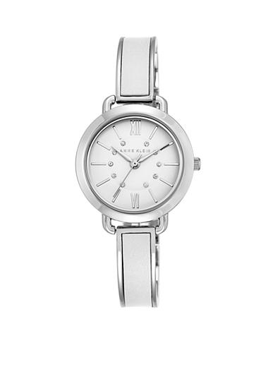 Anne Klein II Watches Women's Silver-Tone White Leather Crystal Bangle Watch