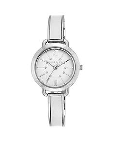 Anne Klein Women's Silver-Tone White Leather Crystal Bangle Watch